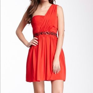 Jessica Simpson Pleated One Shoulder Dress
